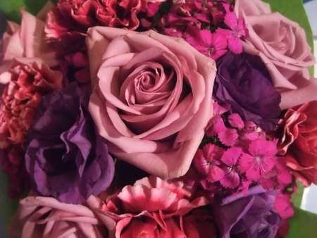 Romantic Bouquet of Pink and Purple Roses and Wildflowers