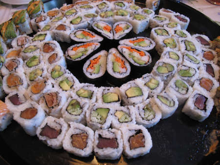 Sushi Dinner: Platter of Japanese Maki Rolls photo