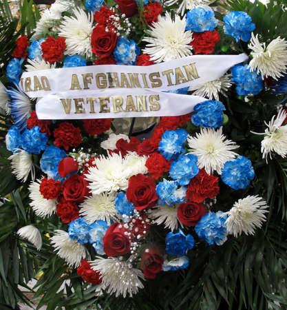 veterans: Memorial Wreath for Iraq Afghanistan Veterans in honor of Veterans Day Stock Photo