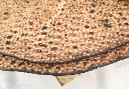 jewish cuisine: Jewish Holidays  Traditional Matzot Laid Out on Passover Seder Table