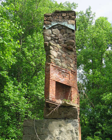 stone  fireplace: Overgrown abandoned stone home with exposed brick fireplace