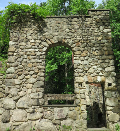 exposed: Overgrown abandoned stone home with exposed brick fireplace