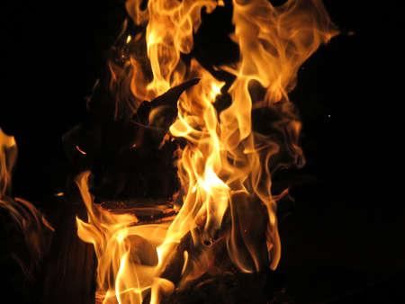 campsite: Closeup of bonfire or campfire at campsite