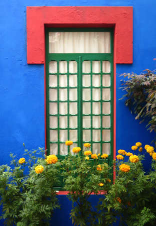 architectural exteriors: Golden marigolds grow by window of blue home