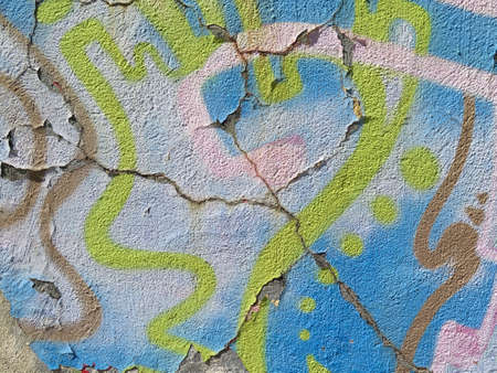 vandal: Aging Wall: Peeling Paint with Abstract Colorful Pattern