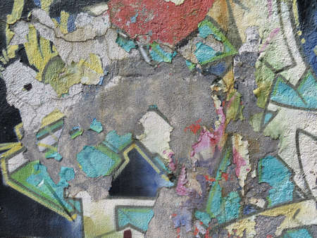 abstract paint: Aging Wall: Peeling Paint with Abstract Colorful Pattern