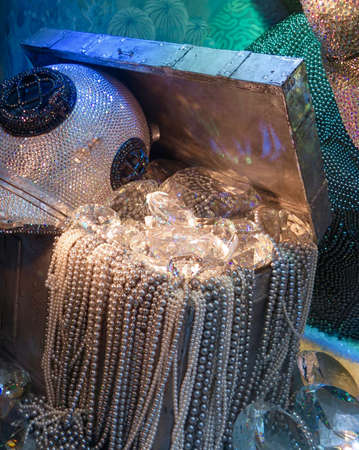 sunken: Still life of sparkling sunken treasure chest filled with pearls and diamonds