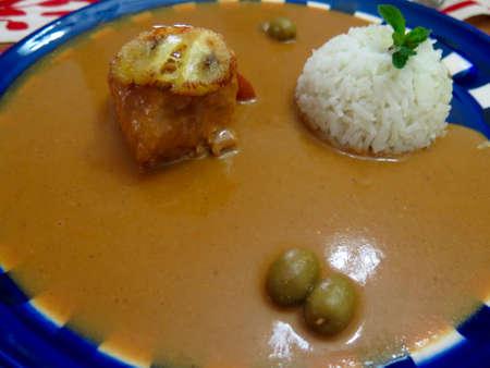 oaxaca: Traditional recipe from Oaxaca, Mexico of chicken with mole sauce Stock Photo