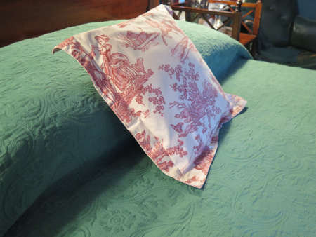 bedspread: Bed in bedroom: red and white toile patterned pillow against green bedspread