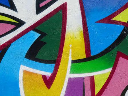 cuadros abstractos: Pintura en la pared: colorido abstracto del modelo en detalle de Graffiti