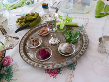 Holidays: Traditional Seder Plate for Passover Meal