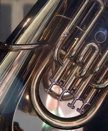 tuba: Brass Band: Closeup Detail of Shining Tuba Stock Photo