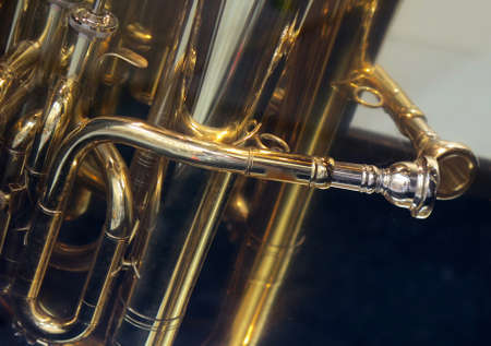 brass  band: Brass Band: Closeup Detail of French Horn Stock Photo