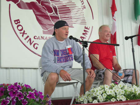 senior olympics: Boxers (and Brothers) Micky Ward and Dicky Eklund, the subjects of the Academy Award-winning film The Fighter, attend Inductee Weekend at the International Boxing Hall of Fame, Canastota, New York, June 12, 2016