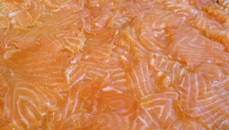Platter of fresh organic sliced lox (smoked salmon) Stock Photo