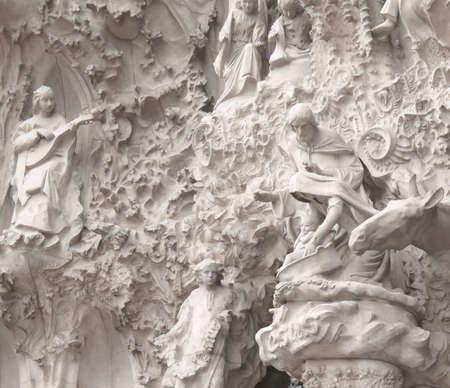 Travel Destination, Barcelona, Spain: Detail of Antonio Gaudis public landmark, La Sagrada Familia church facade