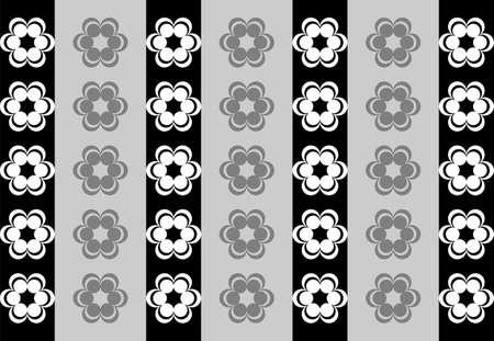 symmetrical: Drawing symmetrical flowers imitating retro wallpaper black and white Illustration