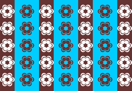 symmetrical: Drawing symmetrical flowers imitating retro wallpaper brown and sky blue