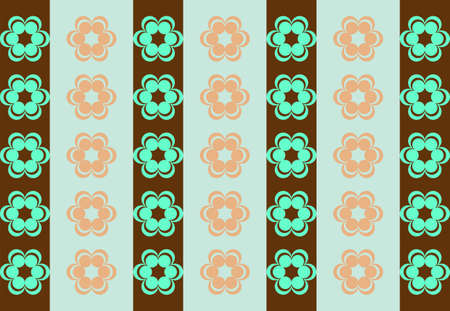 symmetrical: Drawing symmetrical flowers imitating retro wallpaper brown and turquoise Illustration