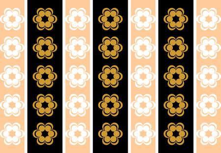 symmetrical: Drawing symmetrical flowers imitating retro wallpaper golden and black