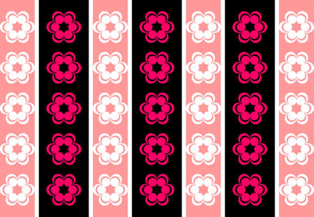 symmetrical: Drawing symmetrical flowers retro wallpaper imitating fluorescent pink and black