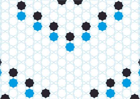 Polígonos simples de diseño cian y negro de inspiración árabe Ilustración de vector