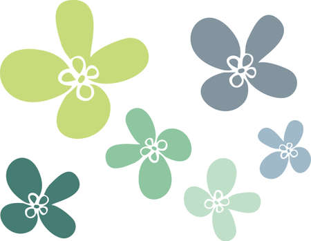 Simple flowers of Several sizes of green color, Illustration
