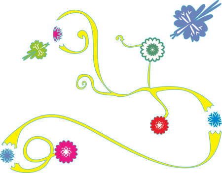 vegetative: Stylized vegetative ornament with flowers and colorful butterflies Illustration
