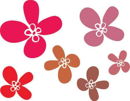 Flores Simples De Varios Tamaños De Color De Gris, Ilustraciones ...