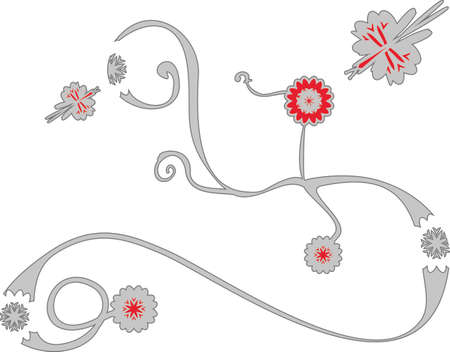 vegetative: Stylized vegetative ornament with flowers and butterflies gray and red Illustration