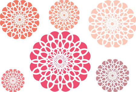 Simple flowers of Several sizes of rosy color, Illustration