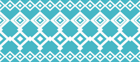 Elegant decorative border made up of square turquoise and white