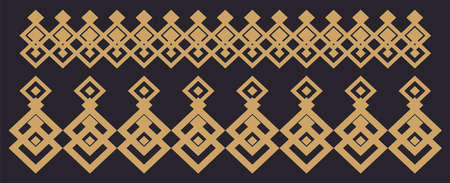 Elegant decorative border made up of square golden and black