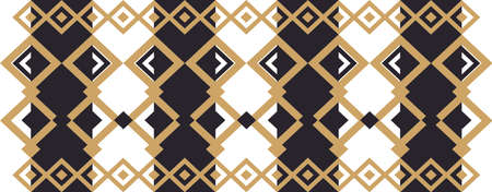Elegant decorative border made up of square golden and black