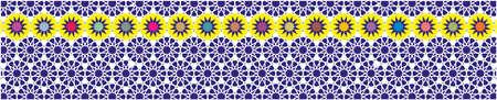 cenefas: borde decorativo elegante compone de polígonos y estrellas con color de fondo azul