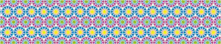 bordure décorative élégante composée de polygones et des étoiles avec des couleurs vives