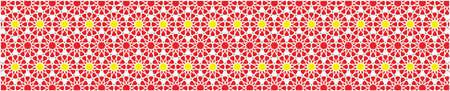 cenefas: borde decorativo elegante compone de polígonos y estrellas con los colores amarillo y verde rojos Vectores