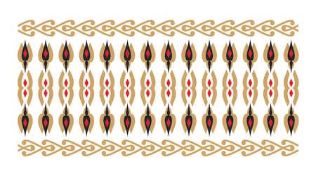 frontera elegante y decorativo de inspiración hindú y árabe de varios colores, fondo de oro y rojo y blanco