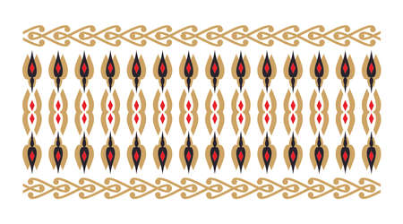 Elegant and decorative border of Hindu and Arabic inspiration of various colors, golden and red and white background
