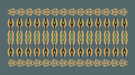 cenefas: frontera elegante y decorativo de inspiración hindú y árabe de varios colores, fondo verde y verde dorado, negro y la luz