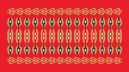 Elegant and decorative border of Hindu and Arabic inspiration of various colors, golden, black and white and red background Vectores