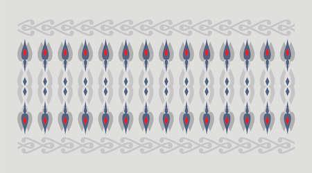 frontera elegante y decorativo de inspiración hindú y árabe de varios colores, fondo rojo y azul y gris