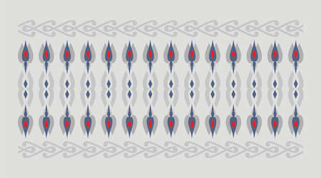 Elegant and decorative border of Hindu and Arabic inspiration of various colors, red and blue and gray background Vectores