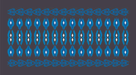 Elegant and decorative border of Hindu and Arabic inspiration of various colors, white and blue and dark blue background Vectores