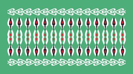 cenefas: frontera elegante y decorativo de inspiración hindú y árabe de varios colores, fondo blanco y rojo y verde Vectores