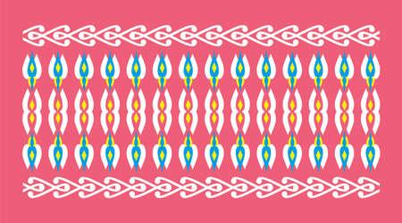 frontera elegante y decorativo de inspiración hindú y árabe de varios colores, blanco y amarillo y la luz de fondo fucsia