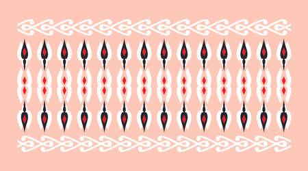 frontera elegante y decorativo de inspiración hindú y árabe de varios colores, blanco, rojo y negro y el fondo de la rosa