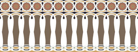 frontera elegante, espectacular y decorativa de inspiración hindú y árabe de varios colores, marrón, oro, negro, rosa oscuro y verde