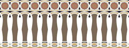 frontière élégante, spectaculaire et décorative hindoue et d'inspiration arabe de différentes couleurs, brun, or, noir, rose foncé et vert