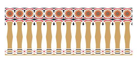 frontera elegante, espectacular y decorativa de inspiración hindú y árabe de varios colores, oro, rojo y negro Ilustración de vector